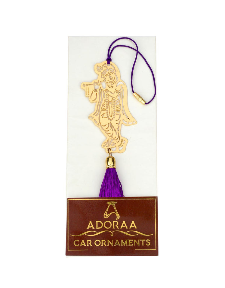 ADORAA's Lord Krishna Car rear view mirror hanging décor accessories in Brass