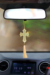 ADORAA's Cross Christian Hanging Accessories for Car rear view mirror Decor in Brass