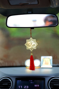 ADORAA's Hindu Om Symbol Hanging Accessories for Car rear view mirror Decor in Brass - Jaali Red