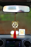 ADORAA's Hindu Om Symbol Hanging Accessories for Car rear view mirror Decor in Brass - Floral