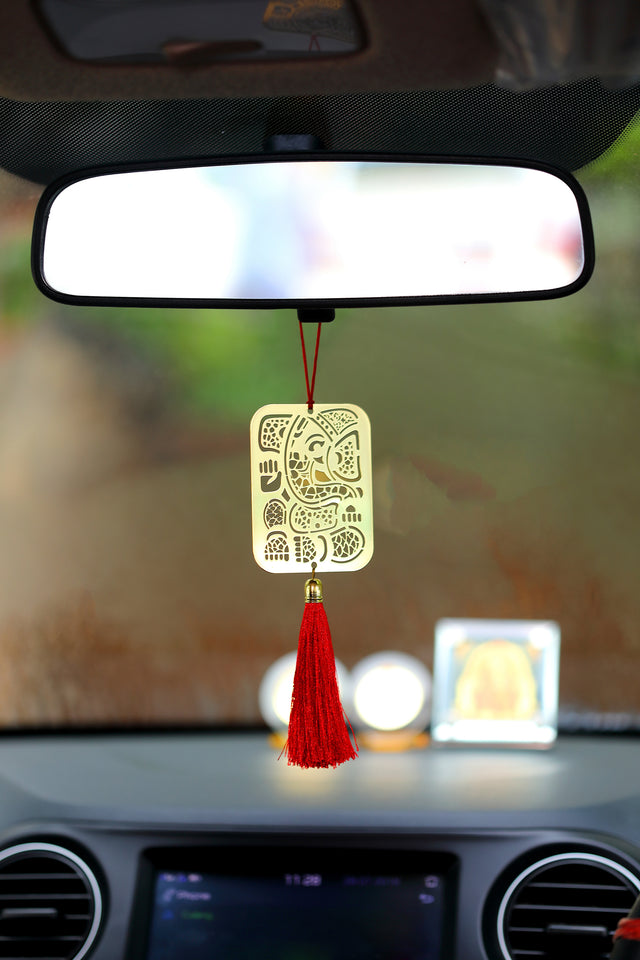 ADORAA's Geometrical Ganesha Car Rearview mirror hanging in brass