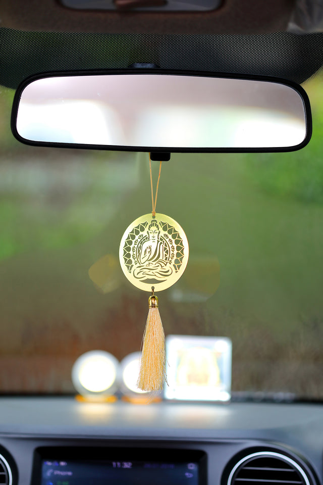 ADORAA's Buddha Hanging Accessories for Car rear view mirror Decor in Brass