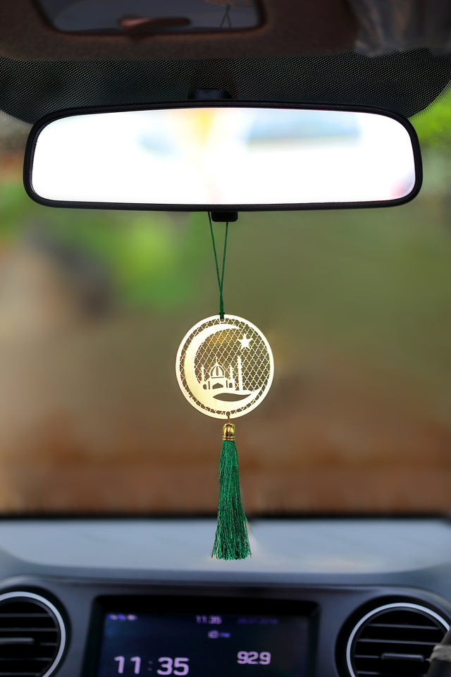ADORAA's Islamic Muslim Crescent Hanging Accessories for Car rear view mirror Decor in Brass