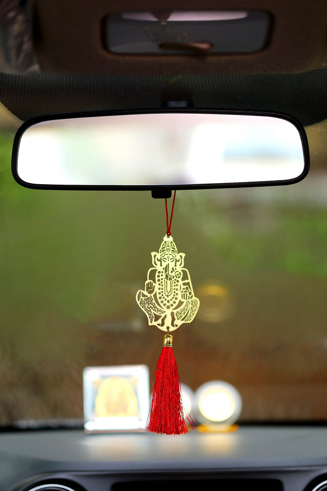 ADORAA's Ganesha Hanging Accessories for Car rear view mirror Decor in Brass