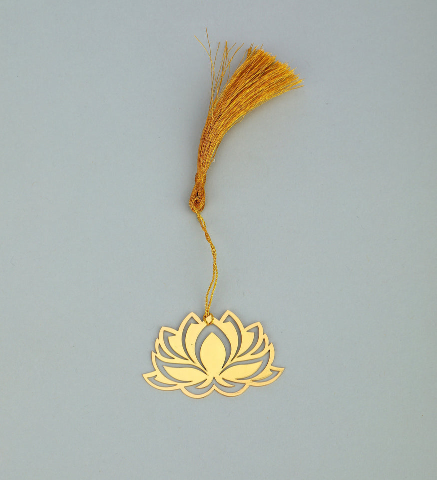 ADORAA's  Floral Lotus Golden Brass Metal Bookmark