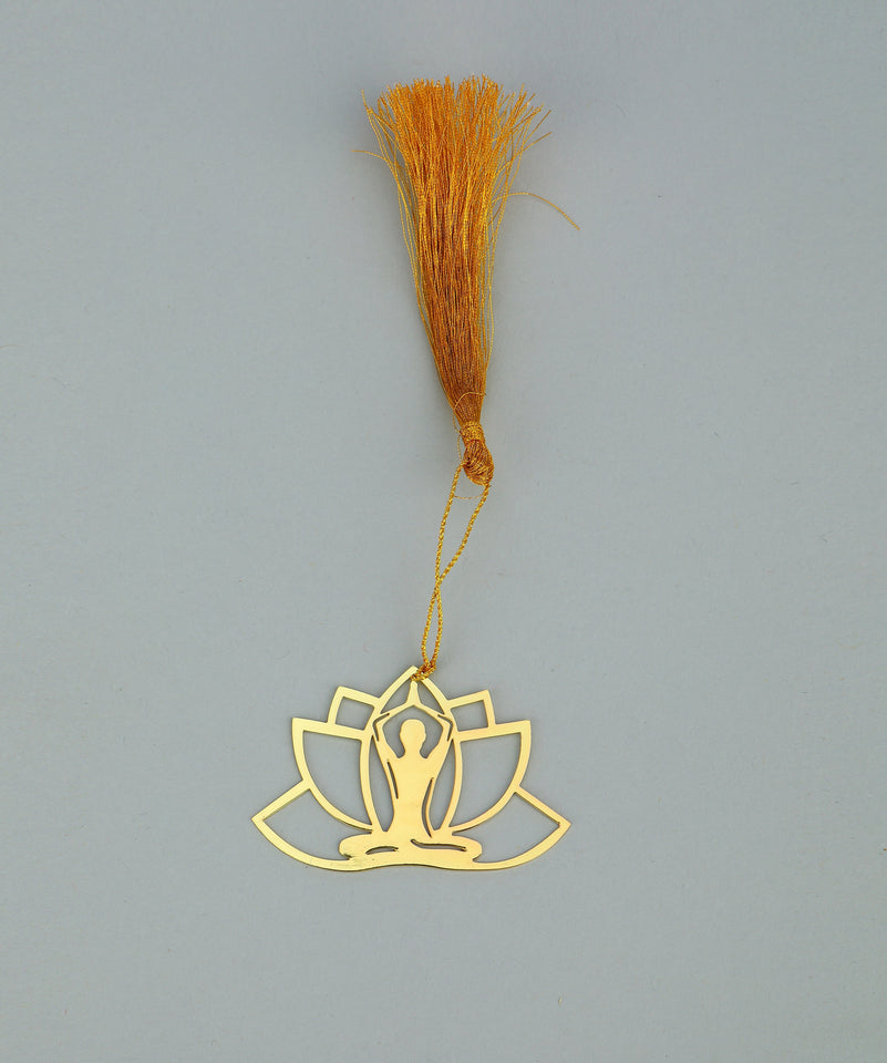 ADORAA's  Yoga Golden Brass Metal Bookmark