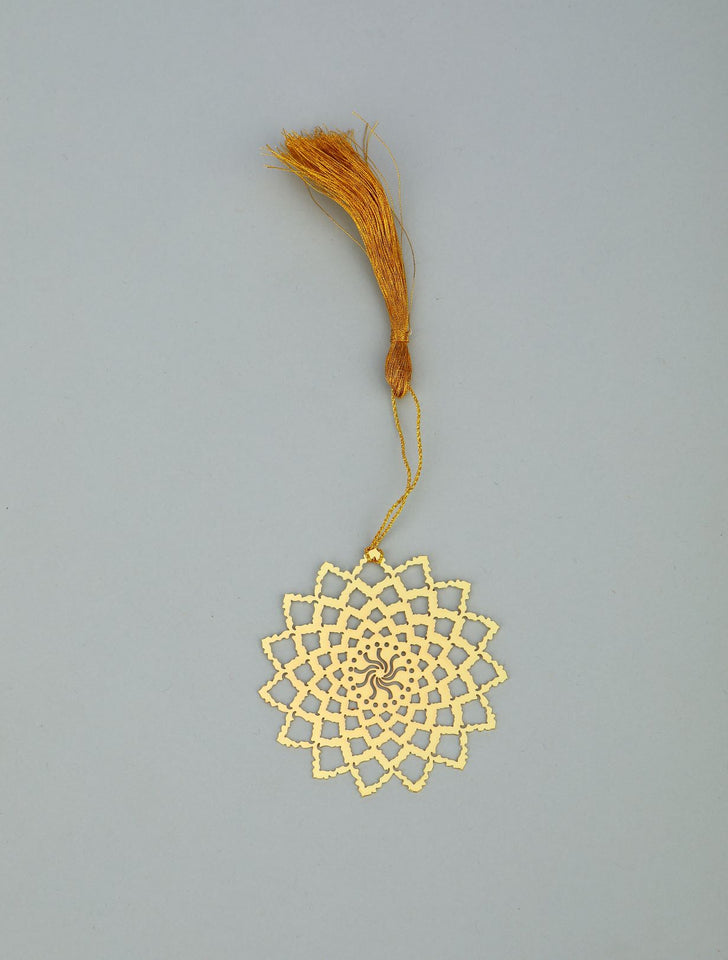 ADORAA's  Circular Taj Golden Brass Metal Bookmark with Golden Tassel