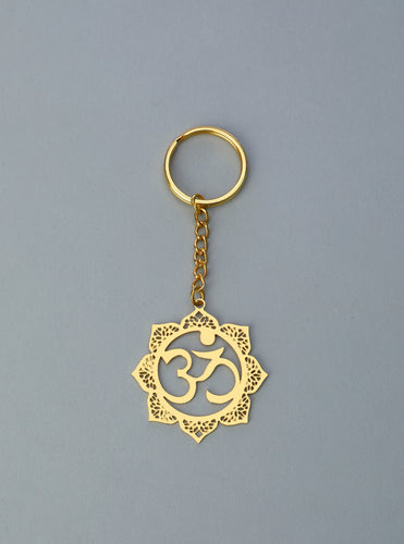 Adoraa's Floral Om Brass Key Chain