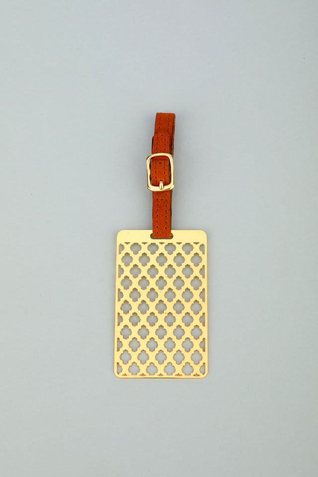 Adoraa's Noor Collection Floral Design Brass Luggage Tag