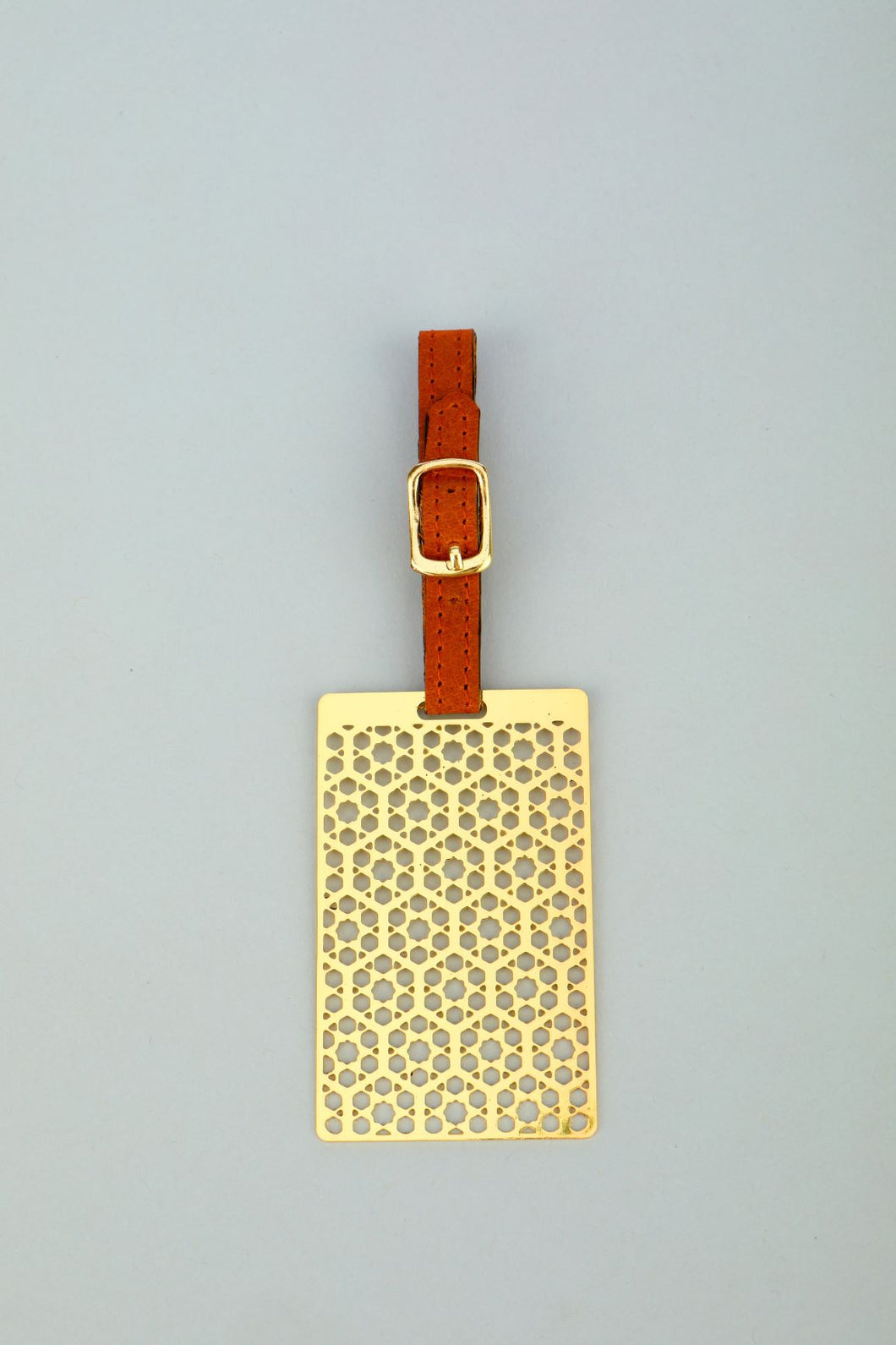 Adoraa's Noor Collection Hexagon Design Brass Luggage Tag