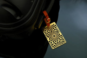 Adoraa's Noor Collection Circular Design Brass Luggage Tag