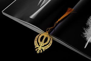 ADORAA's Punjabi Sikh Khanda Symbol Golden Brass Metal Bookmark