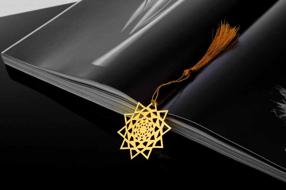 ADORAA's Concentric Triangles Golden Brass Metal Bookmark