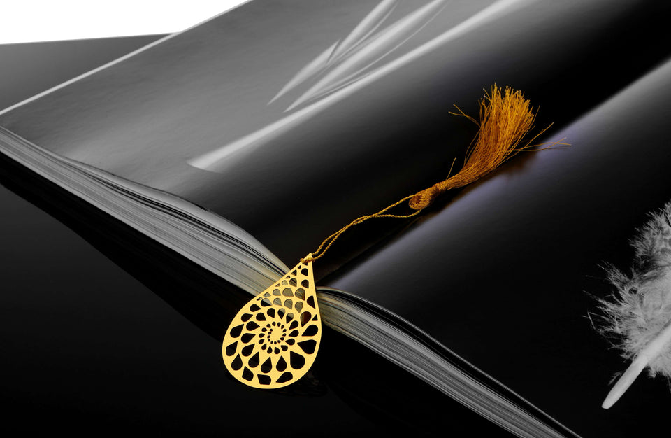 ADORAA's Dew Drop Golden Brass Metal Bookmark