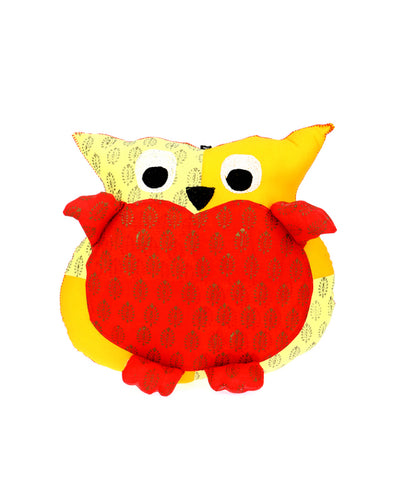 Adoraa's Owl Shape Yellow and Red Handmade Cushion