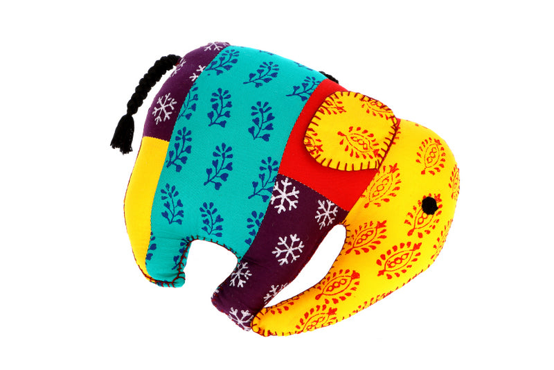 Elephant Shape Multicolor Handmade Cushion