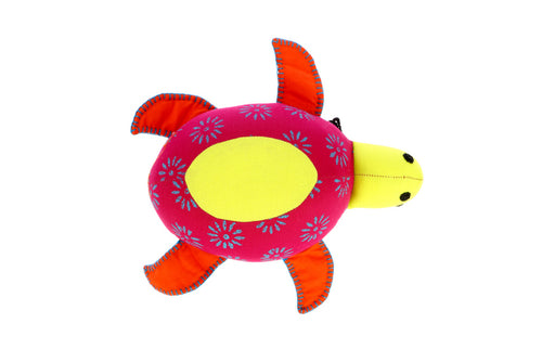 Adoraa's Tortoise Shape Yellow and Pink Handmade Plush Décor/Toy