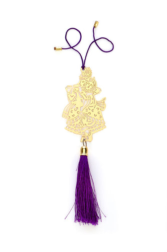 ADORAA's Shri Radha Krishna/Krishan  Car rear view mirror hanging décor accessories in Brass