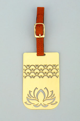 Adoraa's Rythym Collection Lotus Brass Luggage Tag