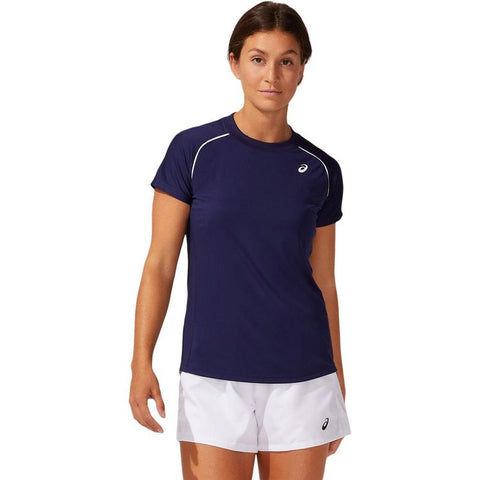 Asics Court W Piping SS T-Shirt Dames Navy