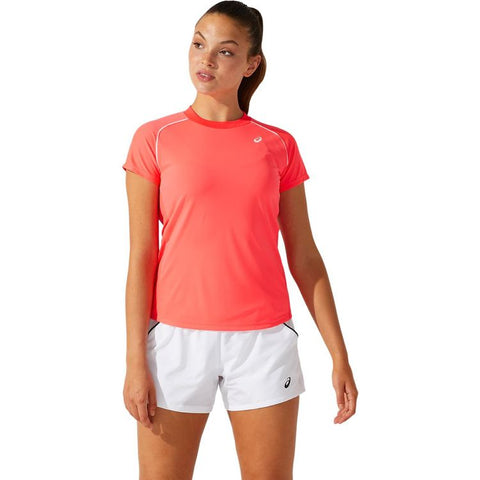 Asics Court W Piping SS T-Shirt Dames Roze
