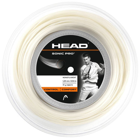 HEAD Sonic Pro White 1.25mm Tennissnaar op rol 200m