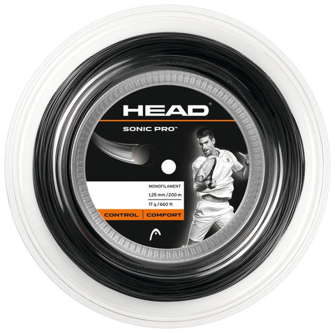 HEAD Sonic Pro Black 1.25mm Tennissnaar op rol 200m