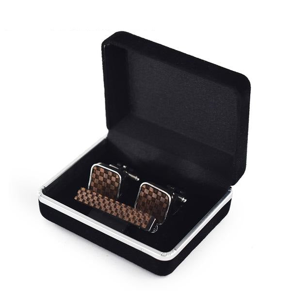 Coffret Boutons de manchettes et Pince à cravate - Damier - My Little Wood Store
