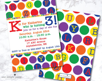 Printable Alphabet Birthday Invitation