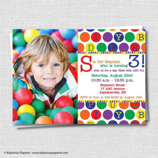 ABC Birthday Photo Invitation
