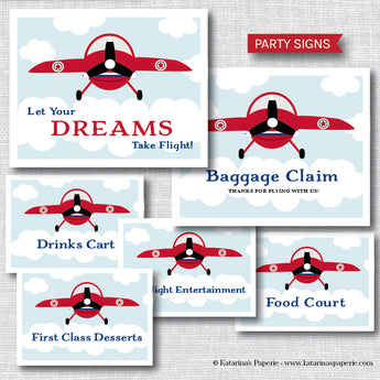 Vintage Airplane Party Signs Set (Instant Download)