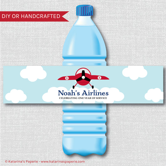 Vintage Airplane Water Bottle Labels