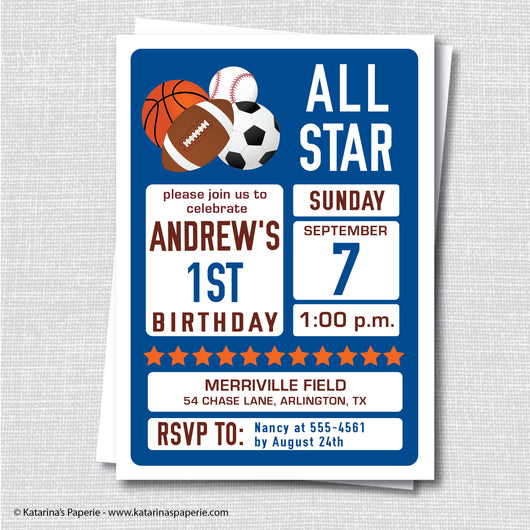 Sports Birthday Invitation
