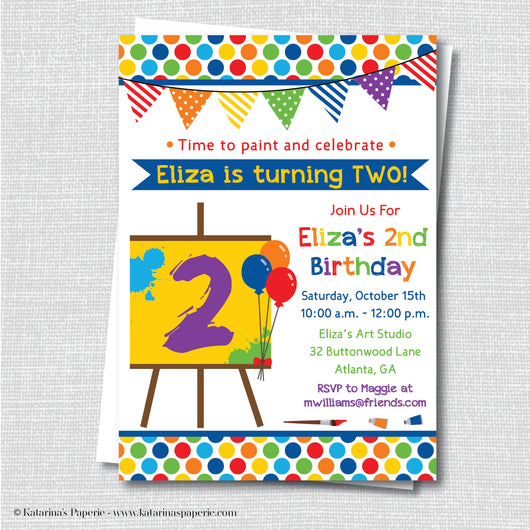 Painting Art Party Birthday Invitation