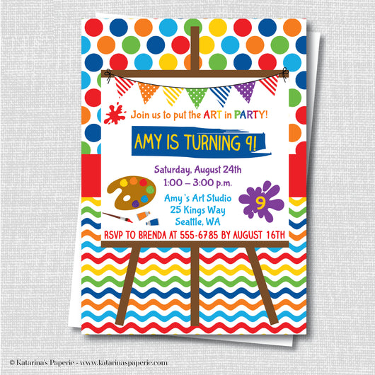 Colorful Art Party Birthday Invitation