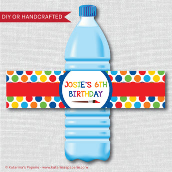 Art Party Water Bottle Labels