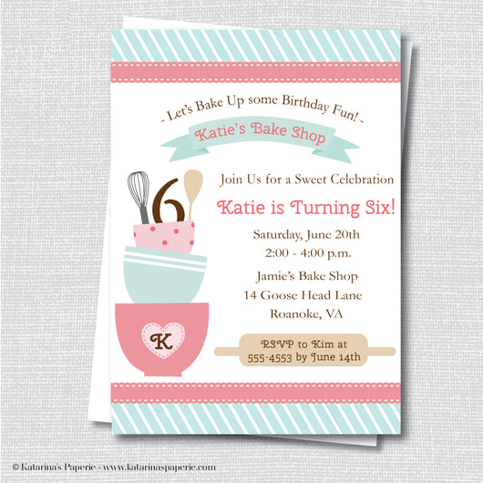 Vintage Baking Birthday Invitation