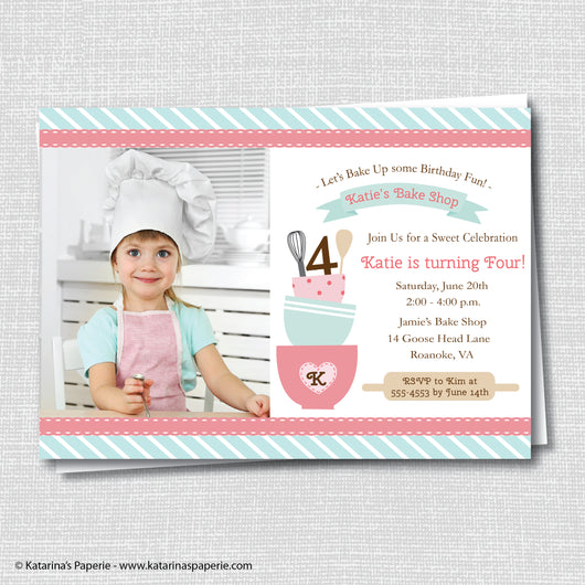 Vintage Baking Birthday Photo Invitation