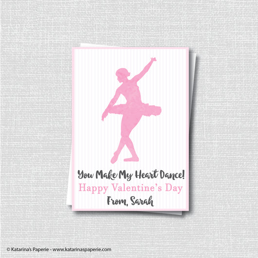 Watercolor Dancing Ballerina Valentine's Day Card