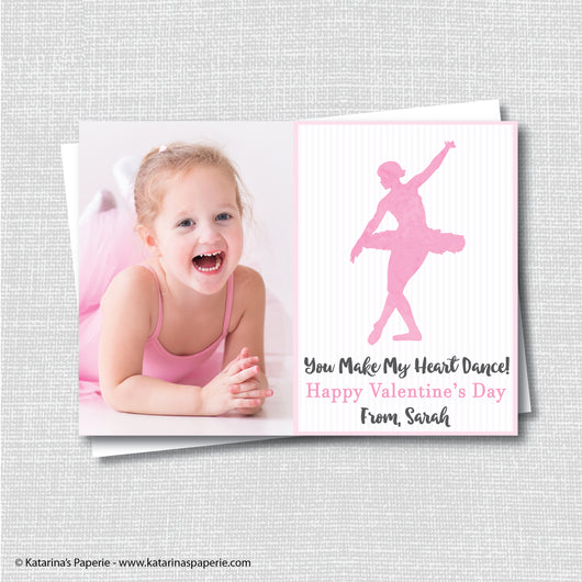 Watercolor Dancing Ballerina Valentine's Day Photo Card