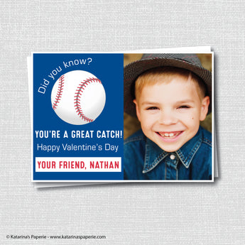 Baseball Valentine's Day Photo Card