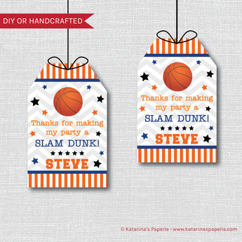 Basketball Birthday Favor Tags