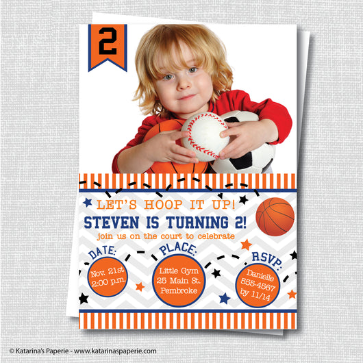 Basketball Birthday Photo Invitation