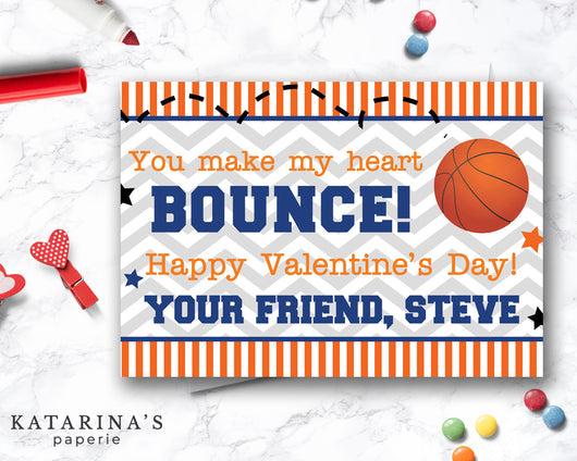 Basketball Valentine's Day Card