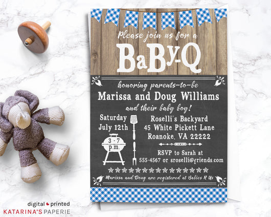 Blue Barbeque Baby Shower Invitation