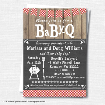 Red Barbeque Baby Shower Invitation