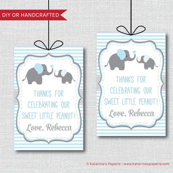 Blue Elephant Baby Shower Favor Tags