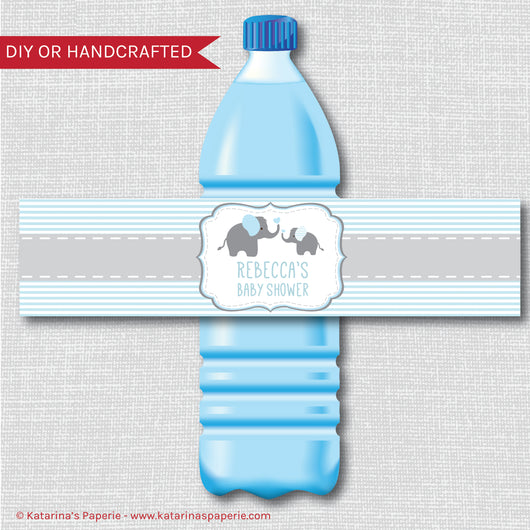 Blue Elephant Baby Shower Water Bottle Labels