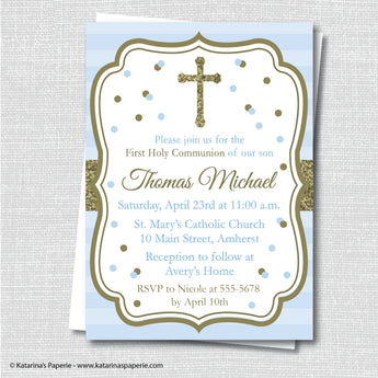 Light Blue and Gold First Communion Invitation