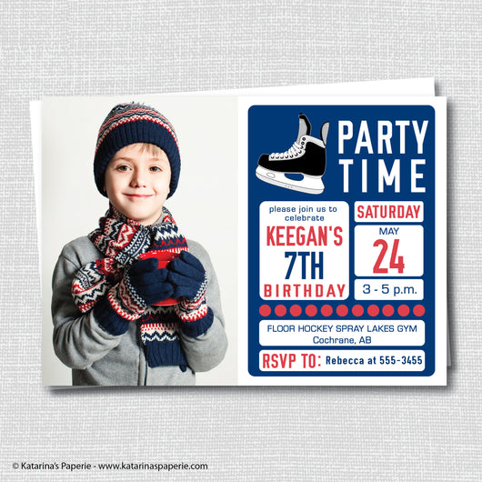 Red, Blue and White Hockey Birthday Photo Invitation